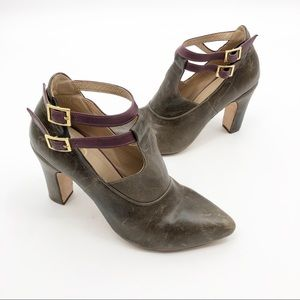 JB strappy distressed leather ankle booties